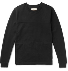 Folk Sigma Panelled Twill and Loopback Cotton-Jersey Sweatshirt