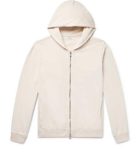 NONNATIVE Coach Loopback Cotton-jersey Zip-up Hoodie - Cream GlCpaj