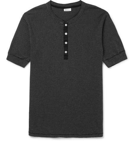 SCHIESSER Karl Heinz Slim-Fit Striped Cotton-Jersey Henley T-Shirt
