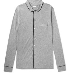 Schiesser Piped Mélange Cotton-Jersey Pyjama Shirt