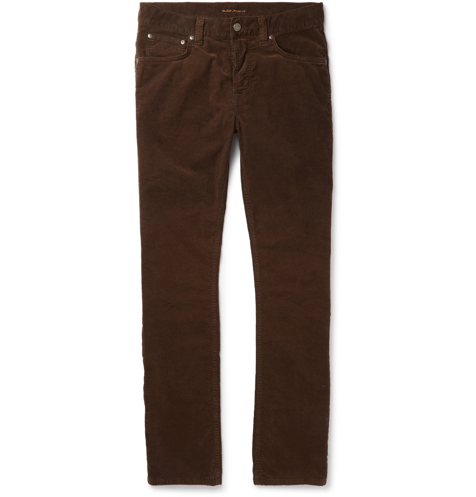 Bild på Grim Tim Sim-fit Organic Stretch-cotton Velvet Jeans - Brown