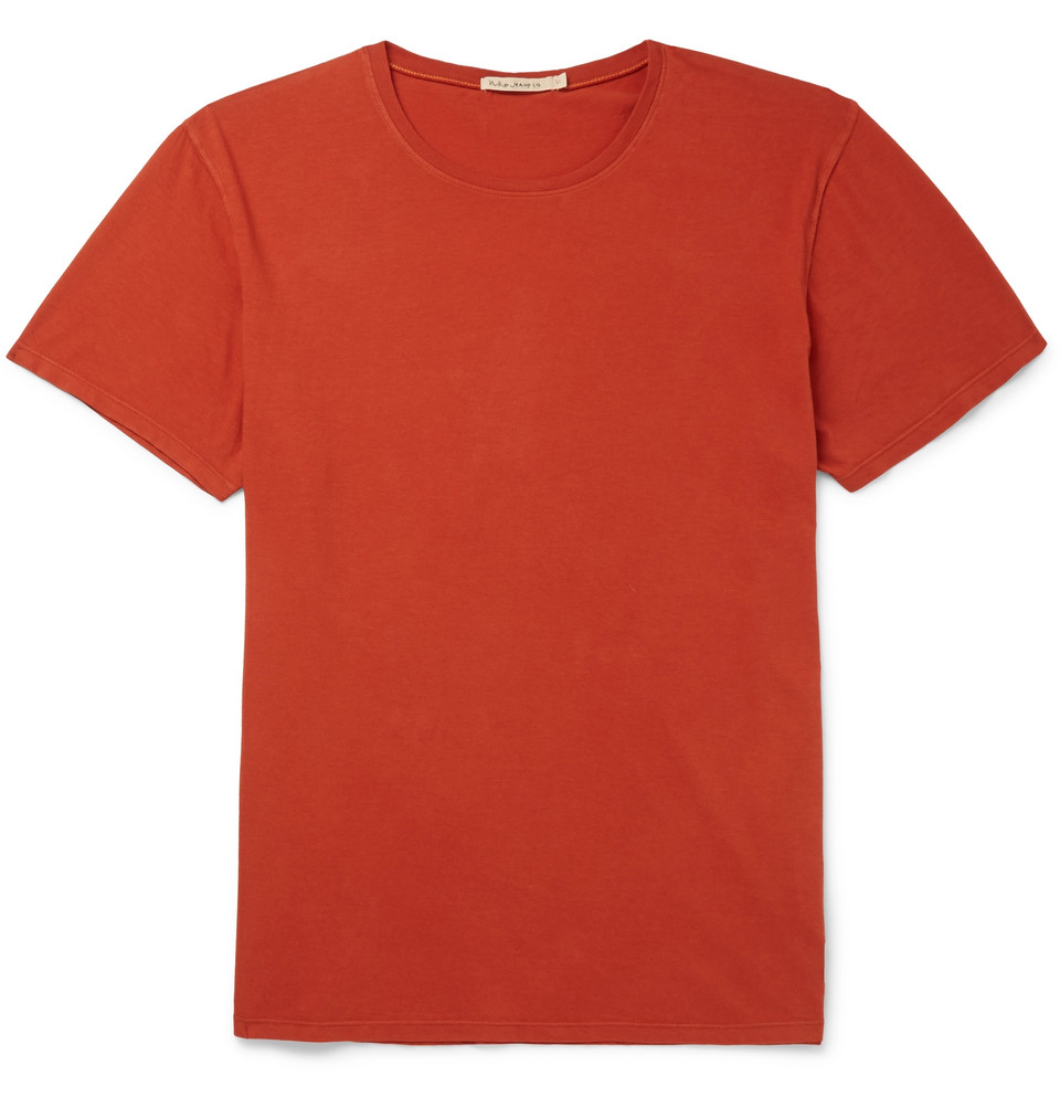 Bild på Anders Slub Organic Cotton-jersey T-shirt - Orange