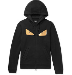 Fendi Appliquéd Fleece-Back Wool-Jersey Zip-Up Hoodie