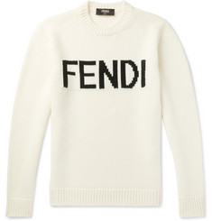 Fendi Logo-Intarsia Wool Sweater
