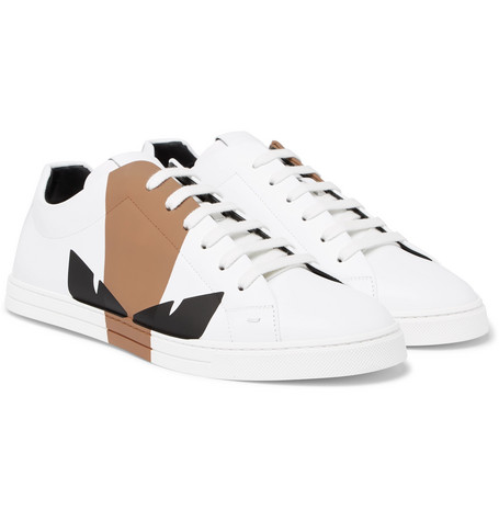 Printed Leather Sneakers by Fendi