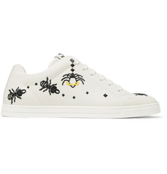 Fendi Embroidered Leather Sneakers