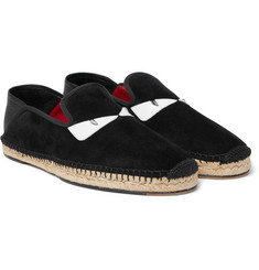 Fendi - Collapsible-Heel Leather-Trimmed Suede Espadrilles
