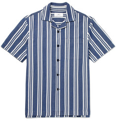 Mr P. - Striped Cotton, Linen and Silk-Blend Shirt