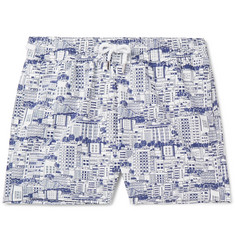 Frescobol Carioca Predios Short-Length Printed Swim Shorts
