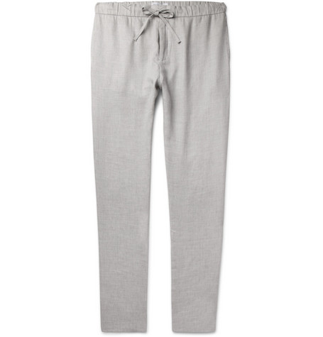 FRESCOBOL CARIOCA Slim-Fit Mélange Linen and Cotton-Blend Drawstring Trousers