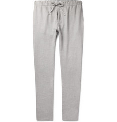 Frescobol Carioca Slim-Fit Mélange Linen and Cotton-Blend Drawstring Trousers