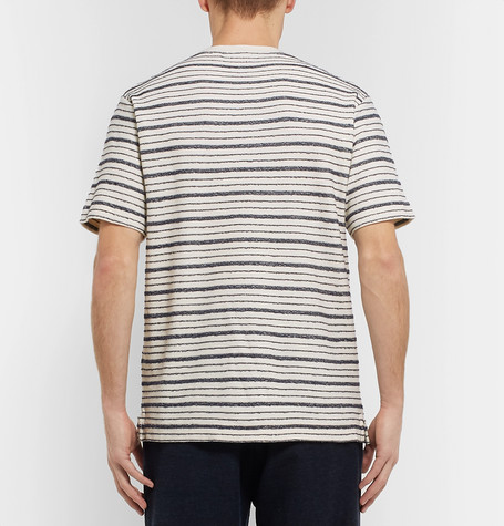 Mr P. Bouclé-striped Cotton-blend Jersey T-shirt - Off-white 1pJ9xYT