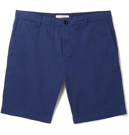 Mr P. Garment-dyed Cotton-twill Bermuda Shorts - Blue 2mAu0n