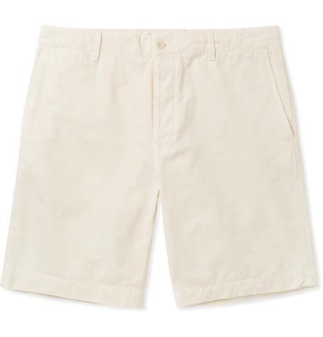 Mr P. Garment-dyed Cotton-twill Bermuda Shorts - Off-white Kz32Uccl5
