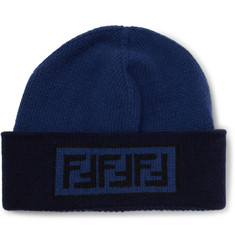 Fendi Logo-Intarsia Wool and Cashmere-Blend Beanie