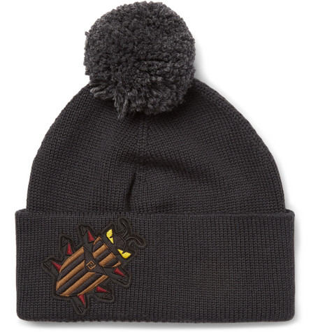 Bag Bugs Appliquéd Wool Beanie - Gray