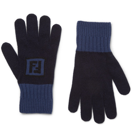 Logo-intarsia Colour-block Wool And Cashmere-blend Gloves