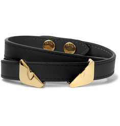 Fendi Bag Bugs Leather and Gold-Tone Wrap Bracelet