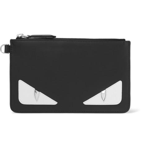 Bag Bugs Appliquéd Leather Pouch by Fendi