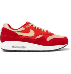 Nike + atmos Air Max 1 Premium Retro Suede, Nubuck and Mesh Sneakers