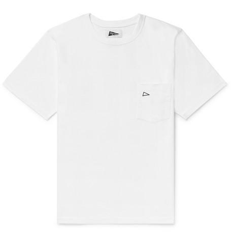 Pilgrim Embroidered Cotton-jersey T-shirt - Gray OhjrtB