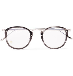 Cartier Signature C de Cartier Round-Frame Acetate and Silver-Tone Optical Glasses