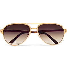 Cartier Eyewear Santos de Cartier Aviator-Style Leather-Trimmed Gold-Plated Sunglasses
