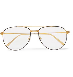 Cartier Eyewear Santos de Cartier Aviator-Style Gold-Tone Optical Glasses