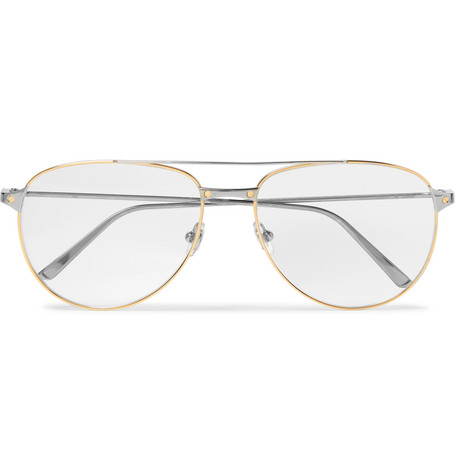 fea4c77d9e1 Cartier EyewearSantos de Cartier Aviator-Style Gold and Silver-Tone Glasses