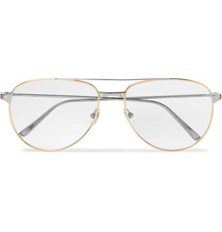 54edfddc744 Cartier EyewearSantos de Cartier Aviator-Style Gold and Silver-Tone Glasses