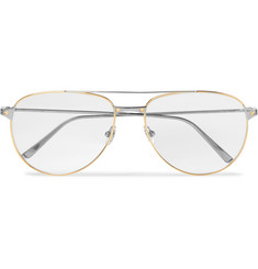Cartier Eyewear Santos de Cartier Aviator-Style Gold and Silver-Tone Glasses