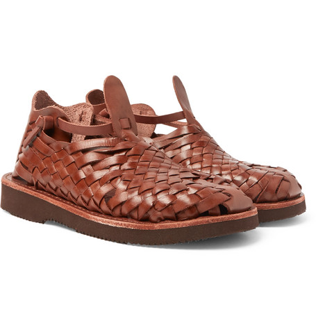 YUKETEN Crus Woven Leather Sandals in Brown