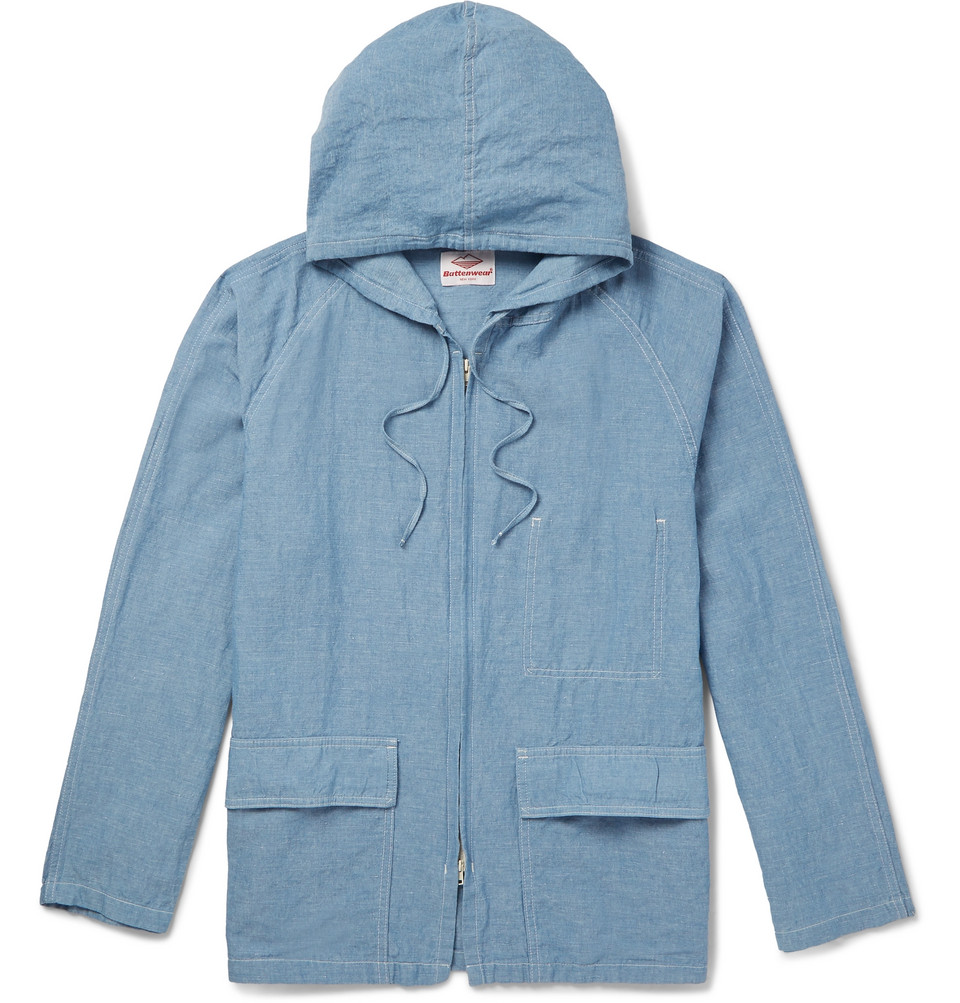 Beach Cotton And Linen-blend Chambray Hooded Parka - Blue