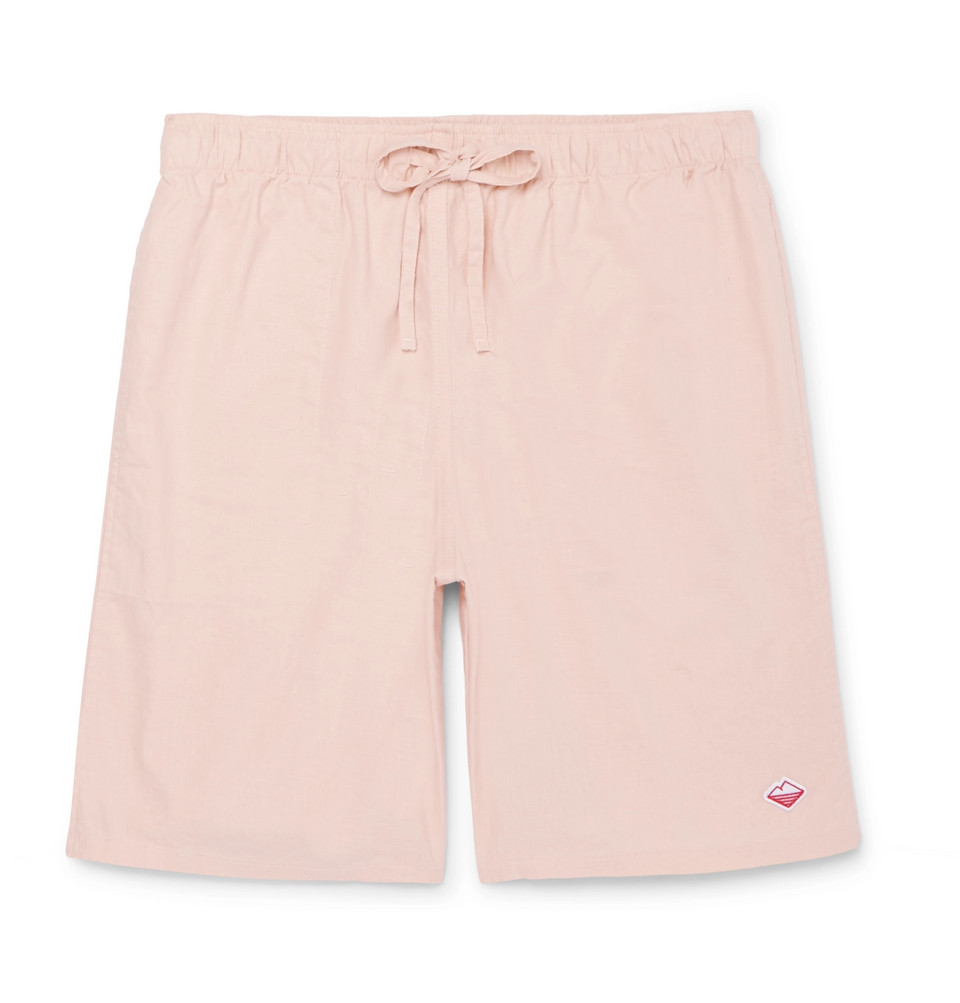 Active Lazy Linen And Cotton-blend Drawstring Shorts - Pink