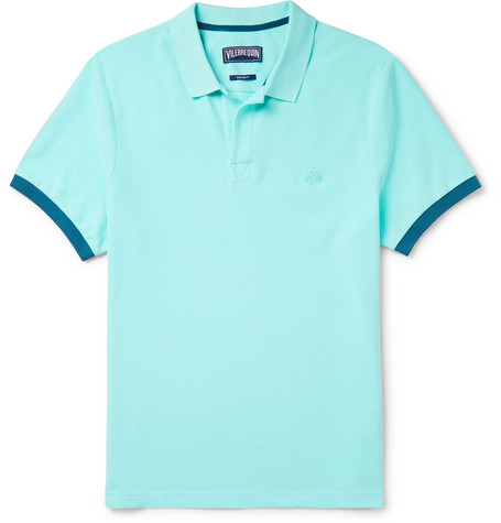 Vilebrequin Palatin Contrast-tipped Cotton-piqué Polo Shirt - Light blue 96kZ9GjQz