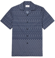 Mr P. Camp-Collar Printed Cotton-Poplin Shirt