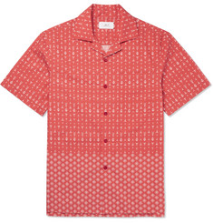 Mr P. - Camp-Collar Printed Cotton-Poplin Shirt