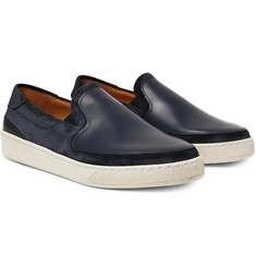 McCaffrey - Leather-Panelled Suede Slip-On Sneakers