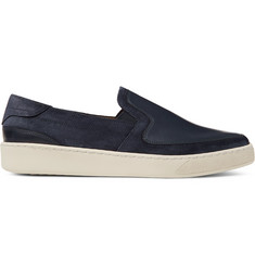 McCaffrey Leather-Panelled Suede Slip-On Sneakers