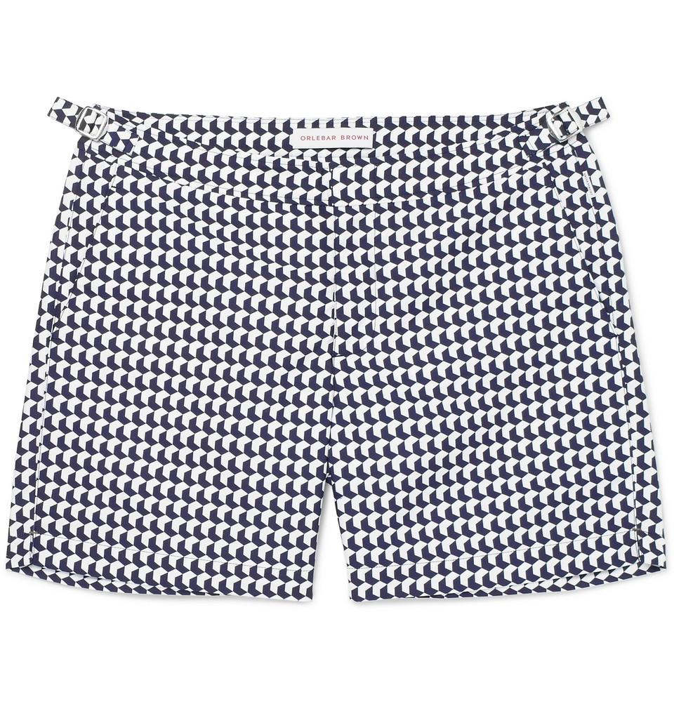 Bulldog Mid-length Printed Swim Shorts - Navy