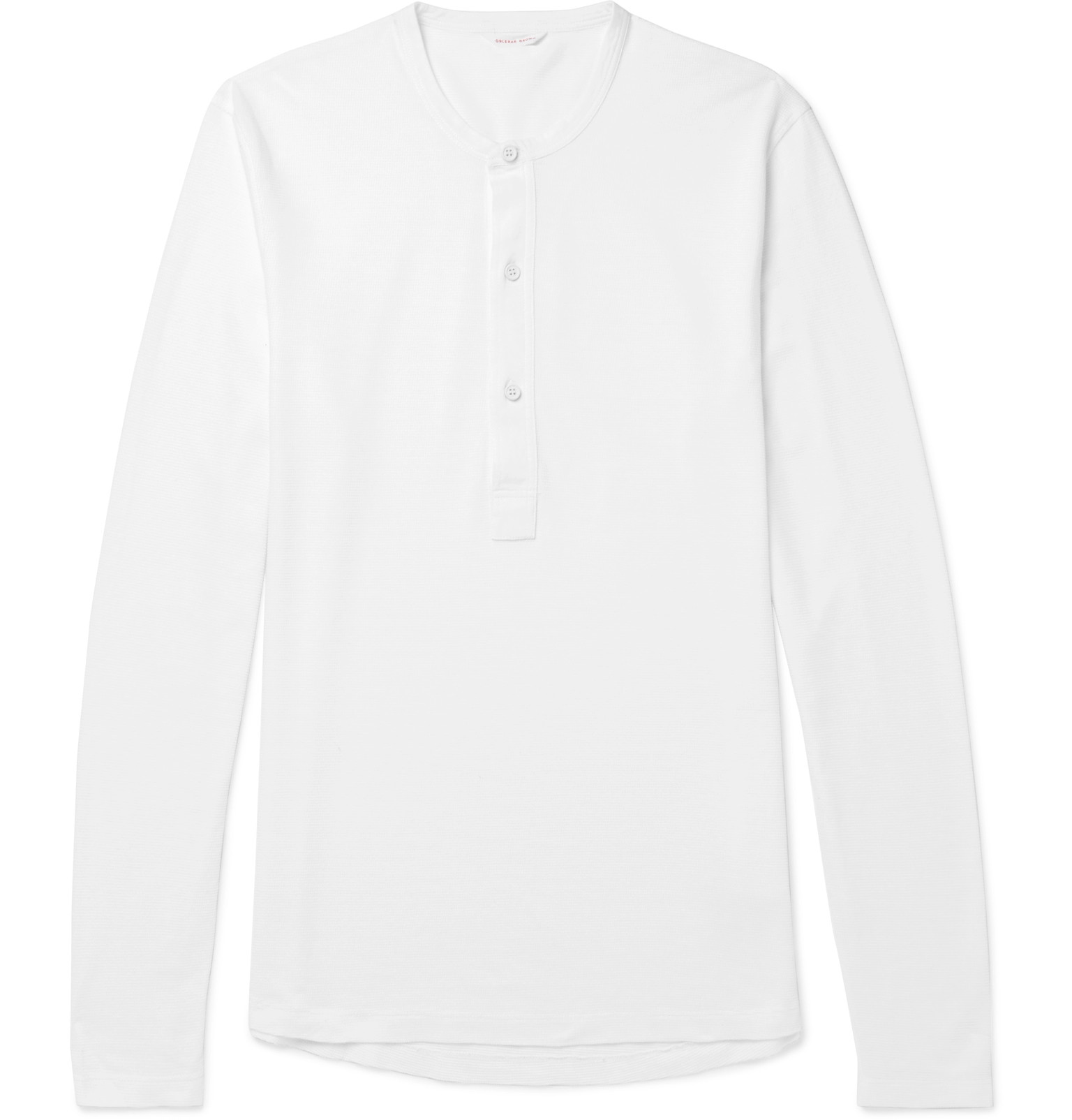 Orlebar Brown Craine Slim-fit Waffle-knit Cotton-jersey Henley T-shirt - White TdeXa2HrP