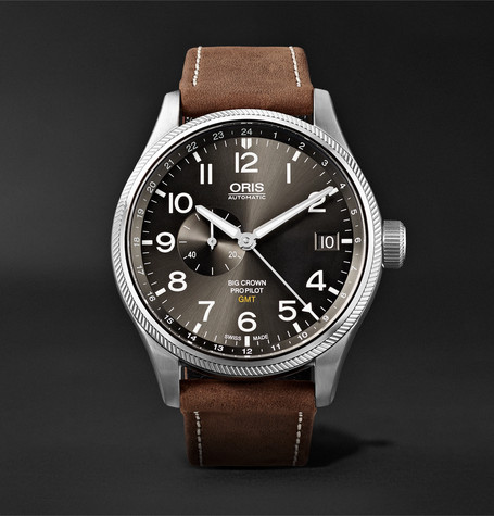Oris Big Crown ProPilot GMT Automatic 45mm Stainless Steel and Suede Watch, Ref. No. 01 748 7710 4063-07