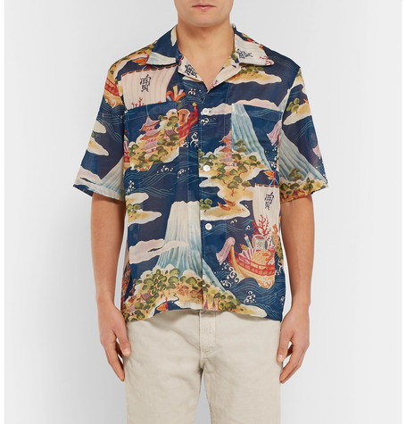Crossing The Seven Seas Camp Collar Printed Cotton Shirt by Our Legacy