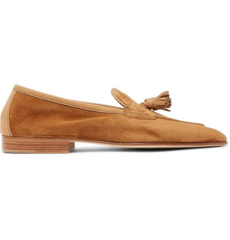 EDWARD GREEN Portland Leather-Trimmed Suede Tasselled Loafers - Tan