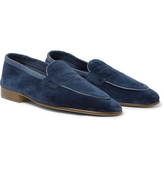 Edward Green - Polperro Leather-Trimmed Suede Penny Loafers