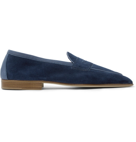 EDWARD GREEN Polperro Leather-Trimmed Suede Penny Loafers - Navy