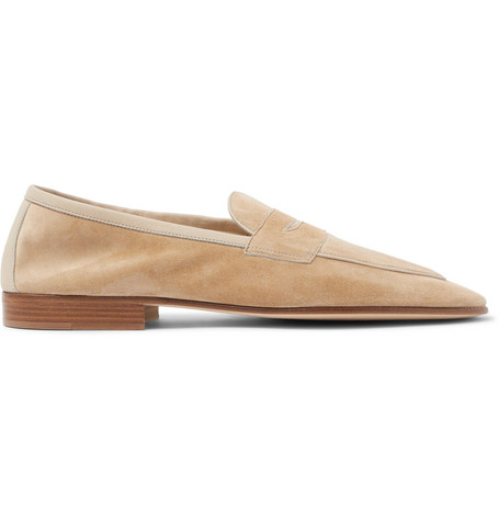 EDWARD GREEN Polperro Leather-Trimmed Suede Penny Loafers - Sand