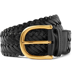 TOM FORD - 4cm Black Woven Leather Belt