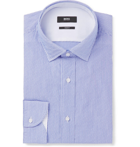 Blue Igon Slim-fit Striped Cotton-poplin Shirt thumbnail