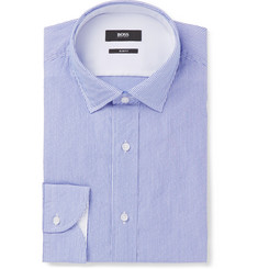 Hugo Boss - Blue Igon Slim-Fit Striped Cotton-Poplin Shirt